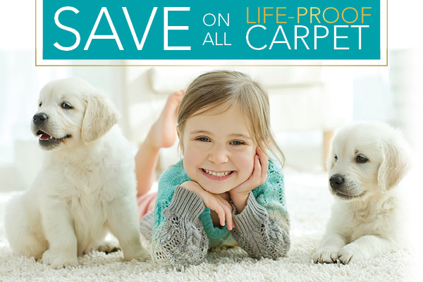 Kid-proof, Pet-proof, LIFE-PROOF carpet on sale this month only!